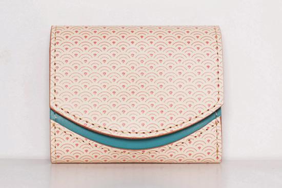 ミニ財布 ピンクの青海波